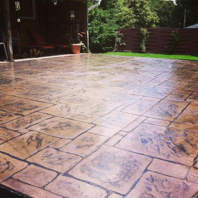English Yorkstone Stamped Concrete Patio in London.